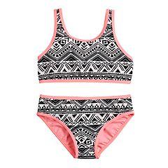 Girls 7-16 SO® Textured Waves Bikini Top & Bottoms Swimsuit Set