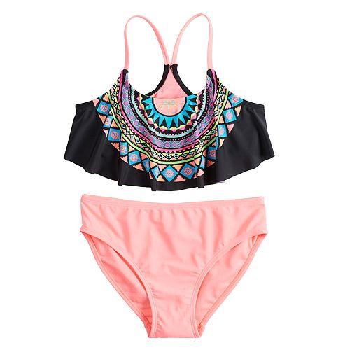 Girls 7-16 SO® Tribal Medallion Flounce Bikini Top & Bottoms Swimsuit Set