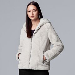 Women's Simply Vera Vera Wang Faux-Fur Hooded Jacket