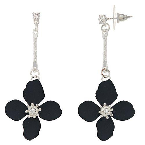 LC Lauren Conrad Navy Floral Drop Earrings