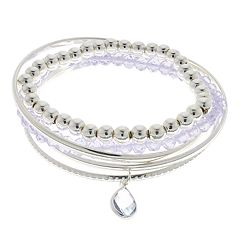 LC Lauren Conrad Silver Tone Stretch & Bangle Bracelet Set