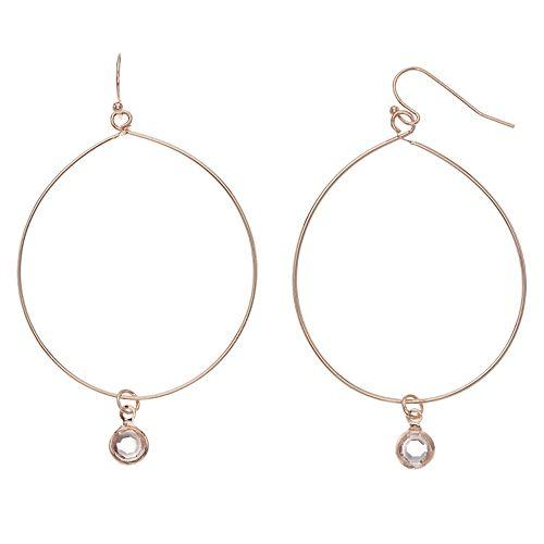 LC Lauren Conrad Rose Gold Tone Nickel Free Hoop Drop Earrings