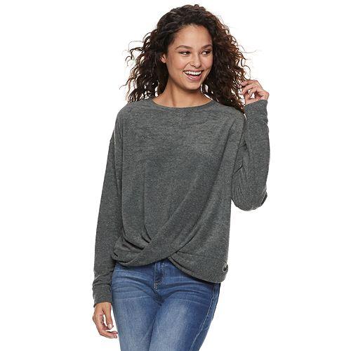 Juniors' Mudd® French Terry Twist Front Sweatshirt