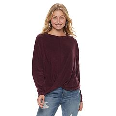 Juniors' Mudd® French Terry Twist Front Sweatshirt