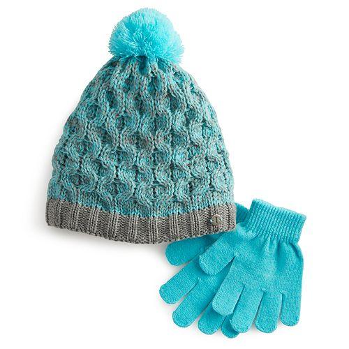 Girls 4-6x Igloos Marled Beanie Hat & Gloves Set