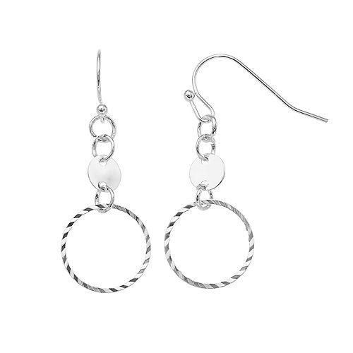 LC Lauren Conrad Silver Hoop Drop Earrings