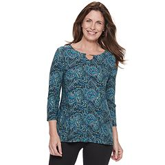 Women's Croft & Barrow® Jacquard Metal-Accent Top