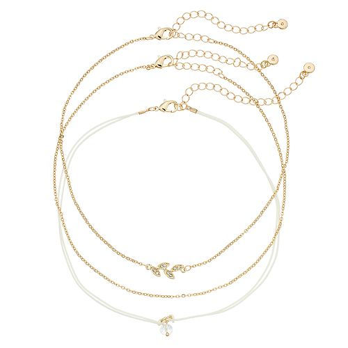 LC Lauren Conrad Gold-Tone 3-pc. Leaf Choker Necklace Set