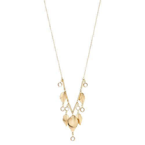 LC Lauren Conrad Gold-Tone Leaf Charm Necklace
