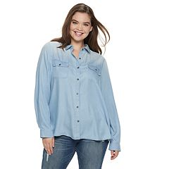 Juniors' Plus Size SO® Button-Front Chambray Shirt