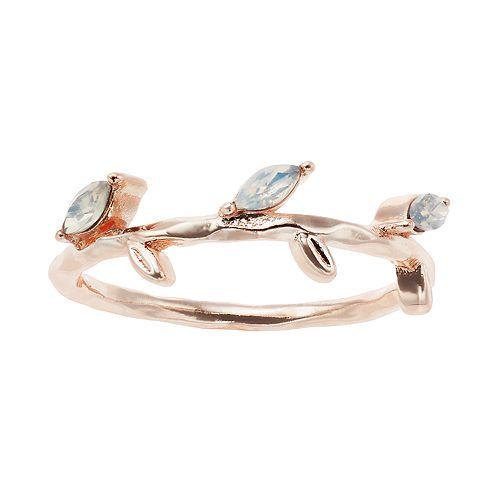 LC Lauren Conrad Crystal Leaf Wrap Ring