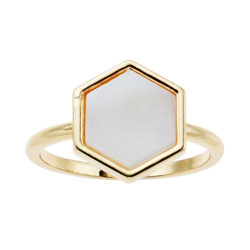 LC Lauren Conrad Gold-Tone White Hexagon Ring