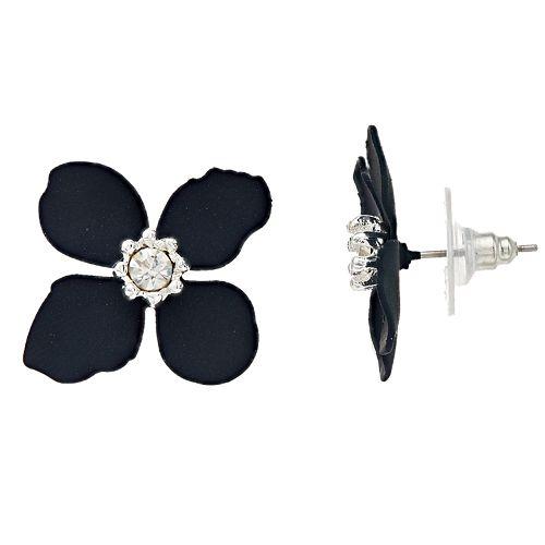 LC Lauren Conrad Navy Floral Button Earrings