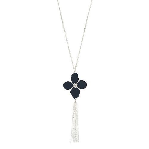 LC Lauren Conrad Long Navy Flower Pendant Necklace