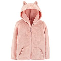 Toddler Girl Carter's Lightweight Hooded Sherpa Jacket