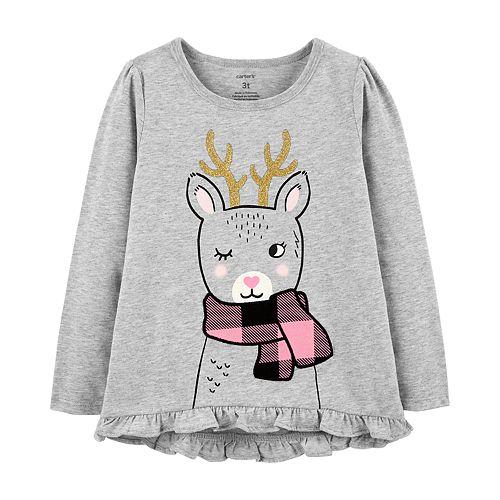 Toddler Girl Carter's Graphic Ruffle-Hem Swing Top
