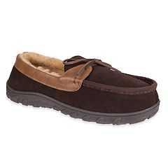 Men's Chaps Suede & Memory Foam Moccasin Slippers