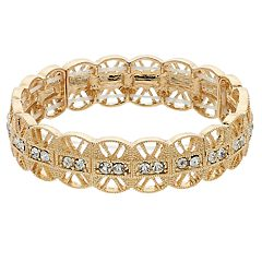 LC Lauren Conrad Gold Tone Filigree Simulated Crystal Stretch Bracelet