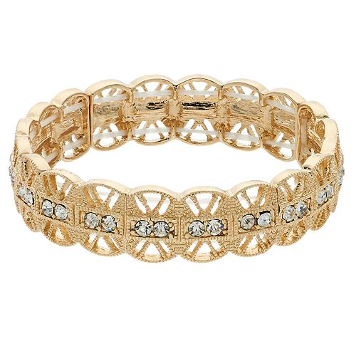 LC Lauren Conrad Gold Tone Filigree Simulated Crystal Stretch Bracelet