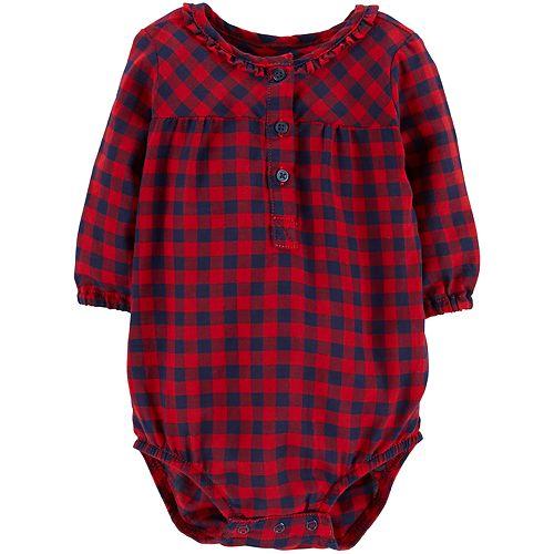 Baby Girl OshKosh B'gosh® Ruffled Henley Bodysuit