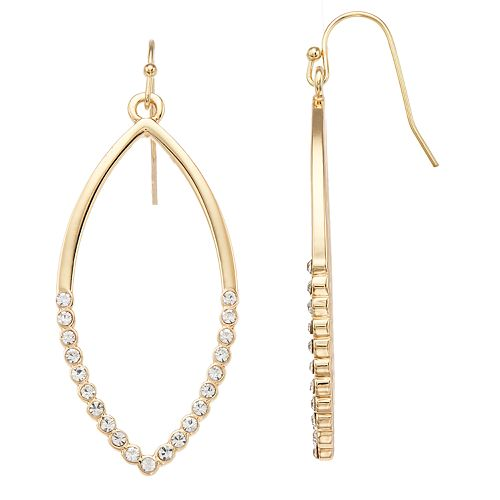 LC Lauren Conrad Simulated Crystal Marquise Nickel Free Drop Earrings