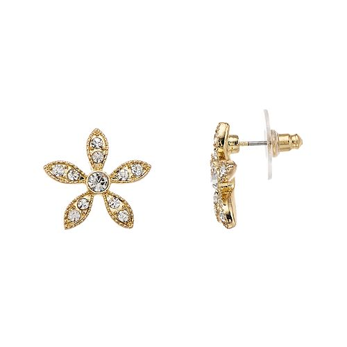 LC Lauren Conrad Simulated Crystal Nickel Free Flower Button Earrings