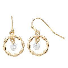 LC Lauren Conrad Gold Tone Simulated Crystal Drop Earrings
