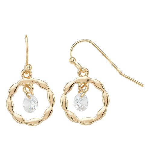LC Lauren Conrad Gold Tone Simulated Crystal Drop Earrings