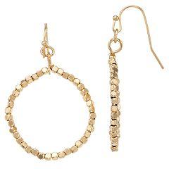 LC Lauren Conrad Gold Tone Beaded Hoop Nickel Free Earrings