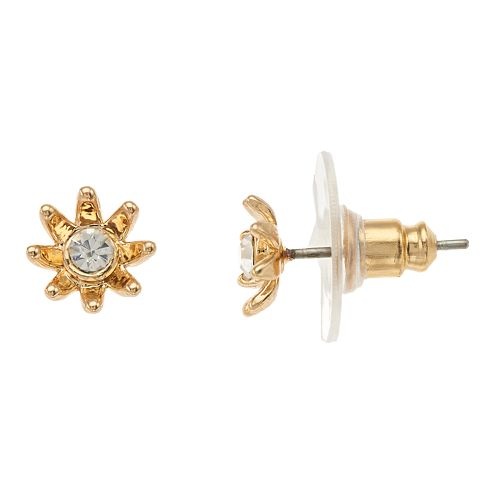 LC Lauren Conrad Flower Simulated Crystal Nickel Free Button Earrings