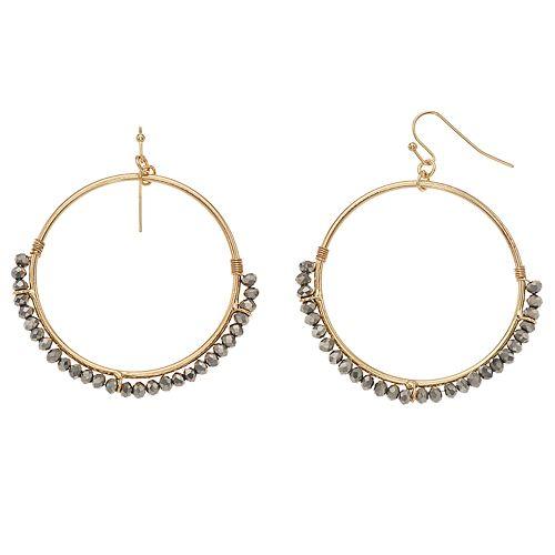 LC Lauren Conrad Beaded Hoop Nickel Free Drop Earrings