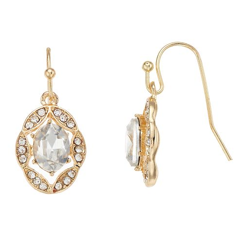 LC Lauren Conrad Simulated Crystal Oval Nickel Free Drop Earrings