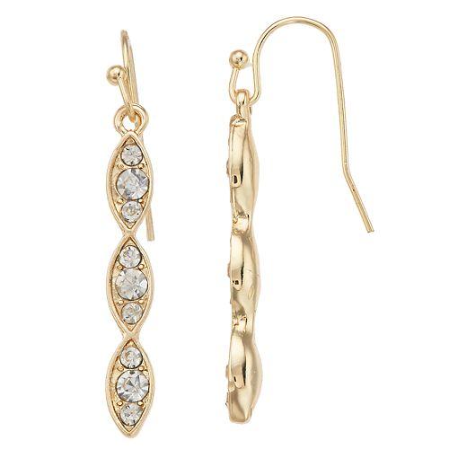 LC Lauren Conrad Simulated Crystal Scalloped Nickel Free Drop Earrings