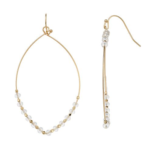 LC Lauren Conrad Beaded Marquise Shape Nickel Free Drop Earrings