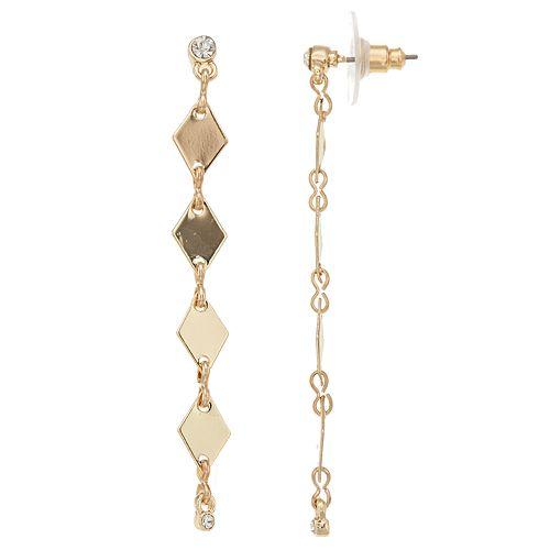 LC Lauren Conrad Gold Tone Nickel Free Linear Drop Earrings