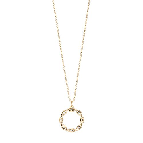 LC Lauren Conrad Simulated Crystal Gold Tone Scalloped Circle Pendant Necklace