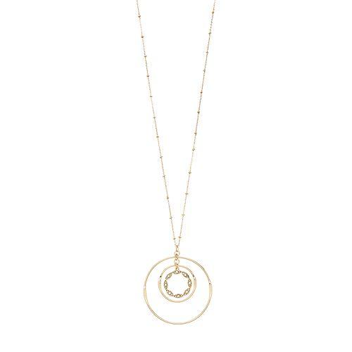 LC Lauren Conrad Gold Tone Ring Pendant Necklace
