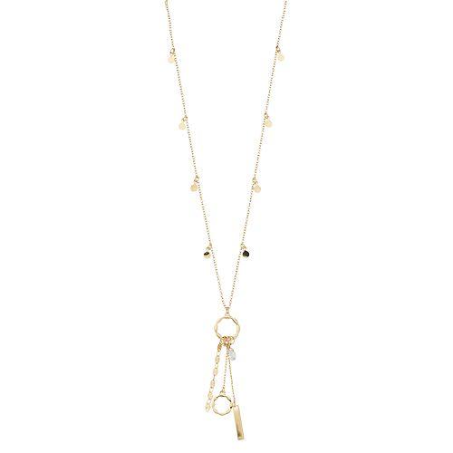 LC Lauren Conrad Gold Tone Charm Pendant Necklace