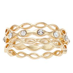 LC Lauren Conrad Scalloped Simulated Crystal Ring Set