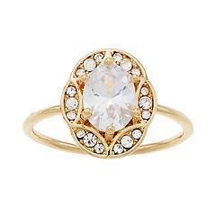 LC Lauren Conrad Gold Tone Cubic Zirconia Oval Ring