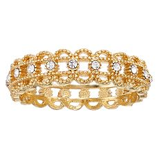 LC Lauren Conrad Gold Tone Filigree Simulated Crystal Ring