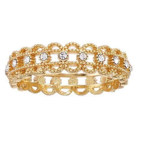 LC Lauren Conrad Gold Tone Filigree Simulated Crystal Ring