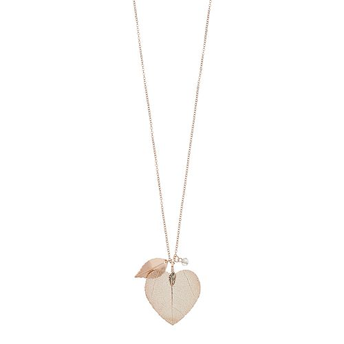 LC Lauren Conrad Rose Gold Tone Leaf Pendant Necklace