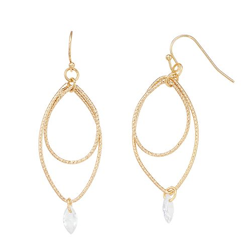 LC Lauren Conrad Gold Tone Crystal Drop Earrings