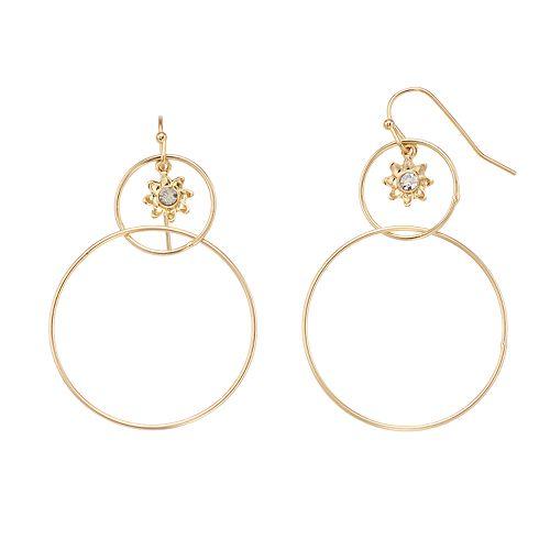 LC Lauren Conrad Floral Double Hoop Earrings
