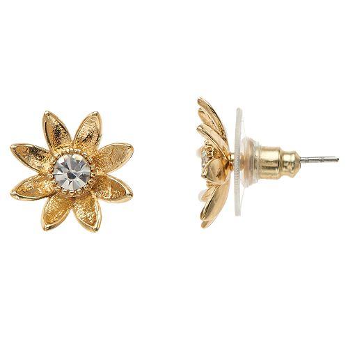 LC Lauren Conrad Gold Tone Nickel Free Flower Stud Earrings