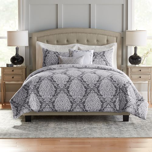 Croft & Barrow® Damask Cotton 5-piece Reversible Comforter Set