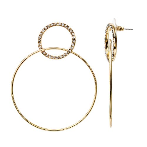 LC Lauren Conrad Gold Tone Nickel Free Double Hoop Drop Earrings
