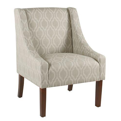 HomePop Tan Geometric Swoop Arm Accent Chair