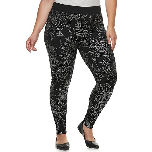 Plus Size French Laundry Printed Foil Halloween Leggings